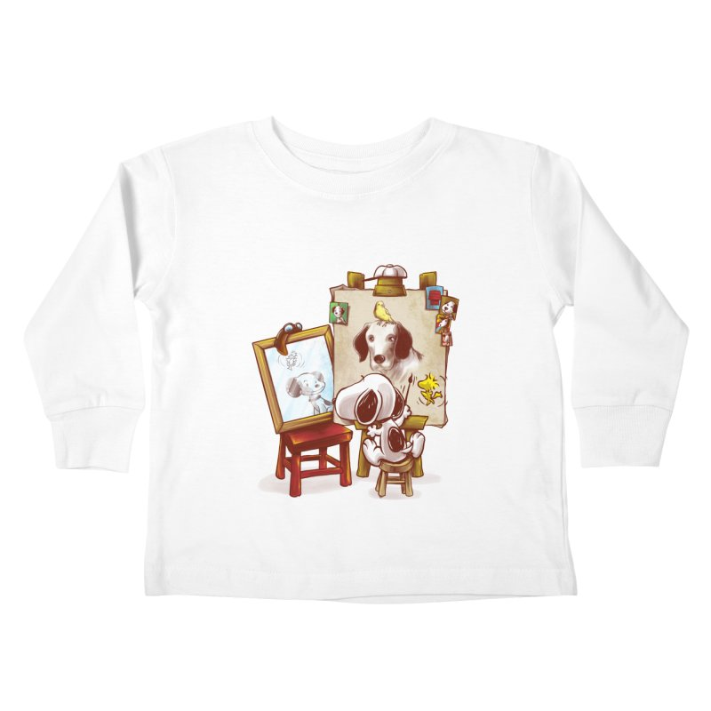 Triple Beagle Portrait Kids Toddler Longsleeve T-Shirt by Alberto Arni's Artist Shop