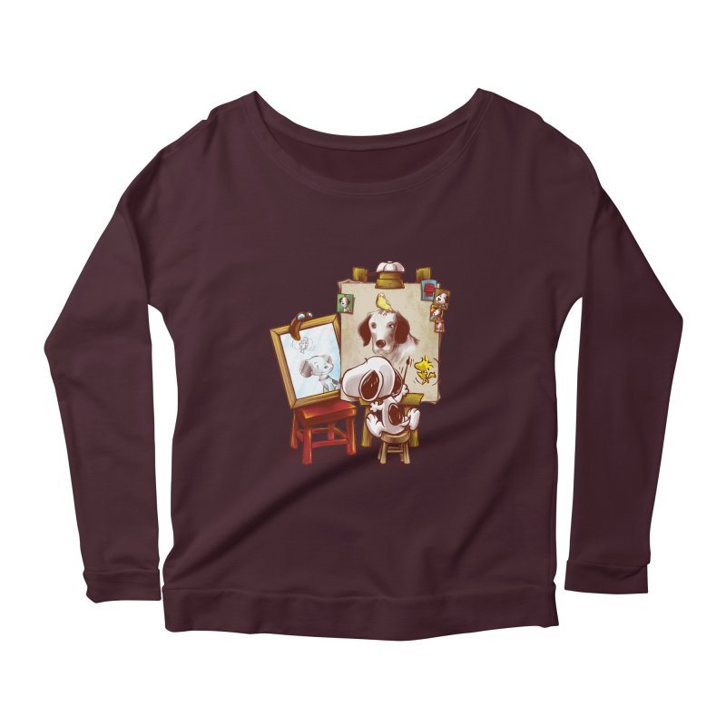 Triple Beagle Portrait Women's Longsleeve Scoopneck  by Alberto Arni's Artist Shop