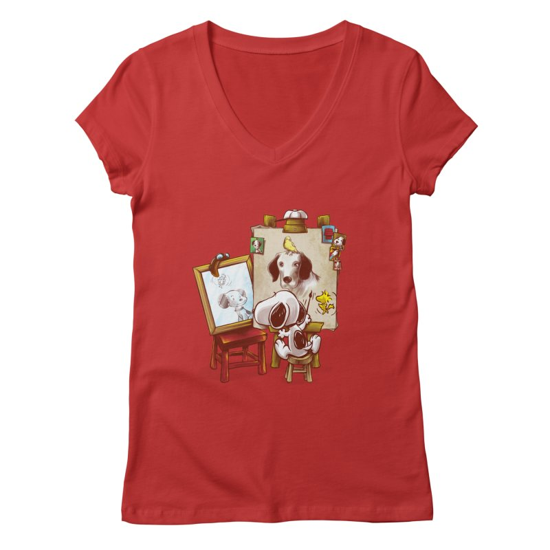 Triple Beagle Portrait Women's V-Neck by Alberto Arni's Artist Shop