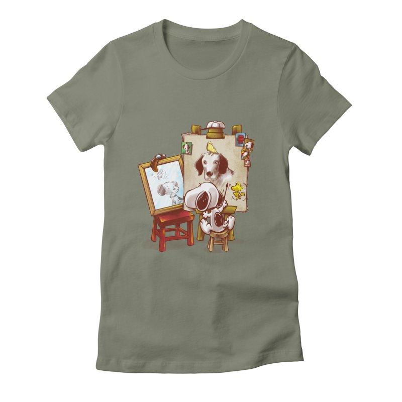 Triple Beagle Portrait Women's Fitted T-Shirt by Alberto Arni's Artist Shop