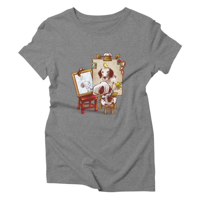 Triple Beagle Portrait Women's Triblend T-shirt by Alberto Arni's Artist Shop