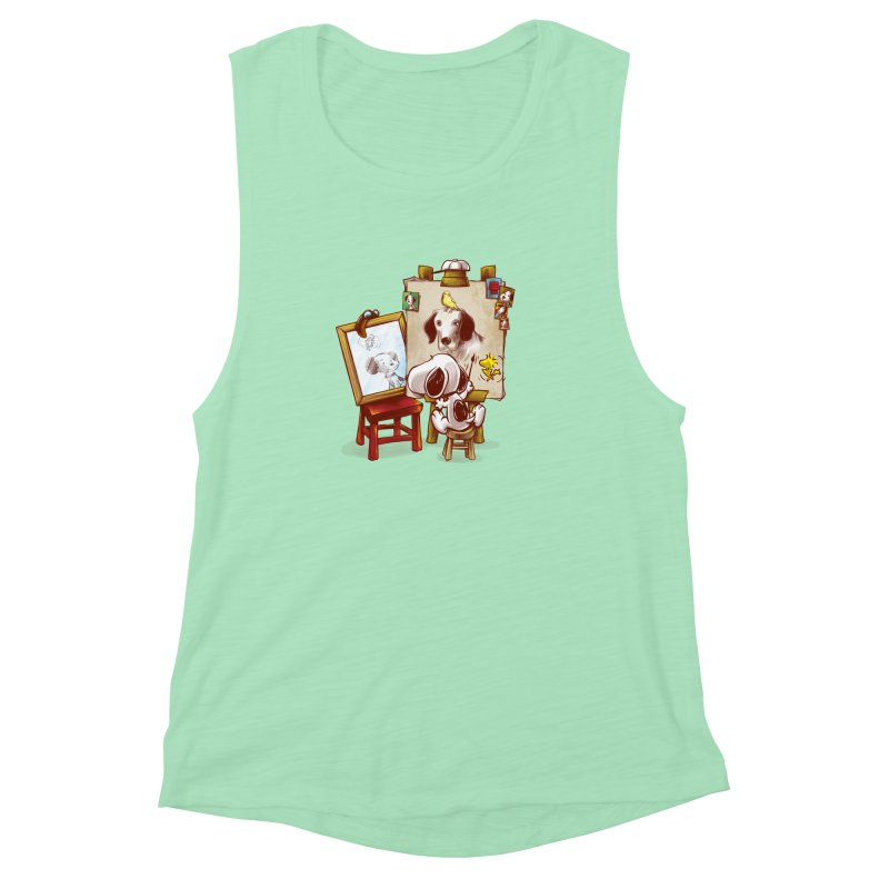 Triple Beagle Portrait Women's Muscle Tank by Alberto Arni's Artist Shop