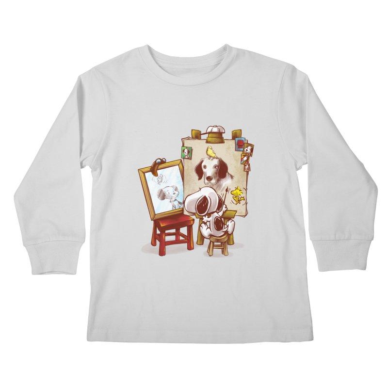 Triple Beagle Portrait Kids Longsleeve T-Shirt by Alberto Arni's Artist Shop