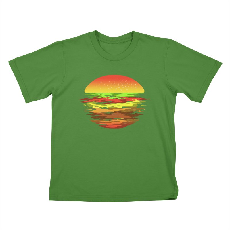 SUNSET BURGER Kids T-shirt by alchemist's Artist Shop
