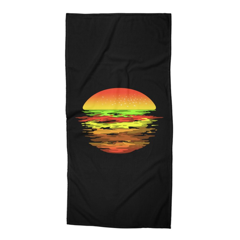 SUNSET BURGER Accessories Beach Towel by alchemist's Artist Shop