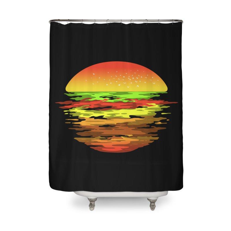 SUNSET BURGER Home Shower Curtain by alchemist's Artist Shop