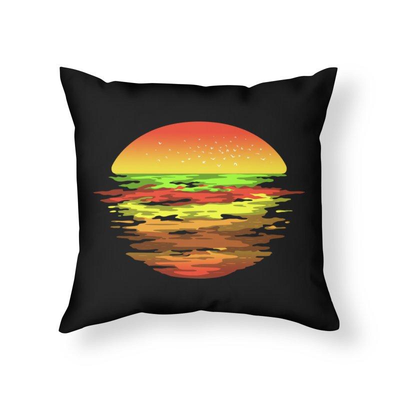 SUNSET BURGER Home Throw Pillow by alchemist's Artist Shop