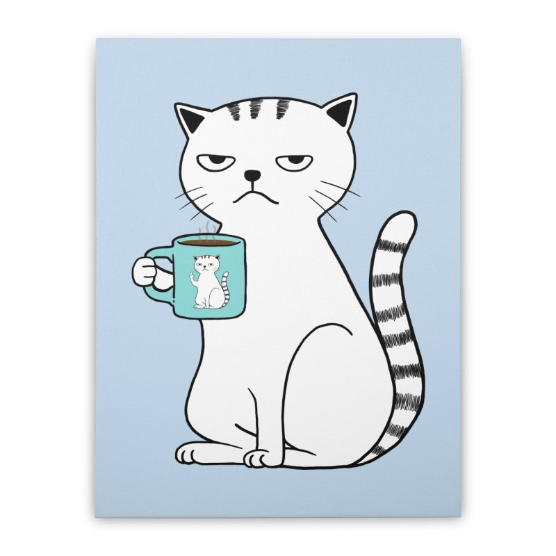 COFFEE CAT Home Stretched Canvas by alchemist's Artist Shop