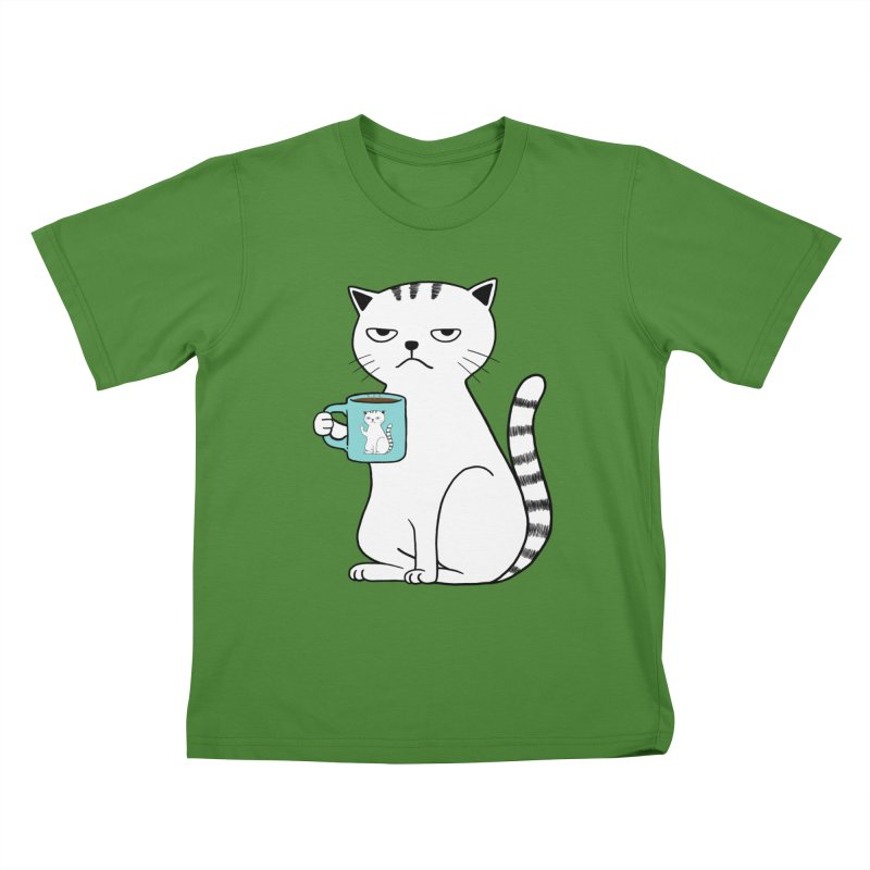 COFFEE CAT Kids T-Shirt by alchemist's Artist Shop
