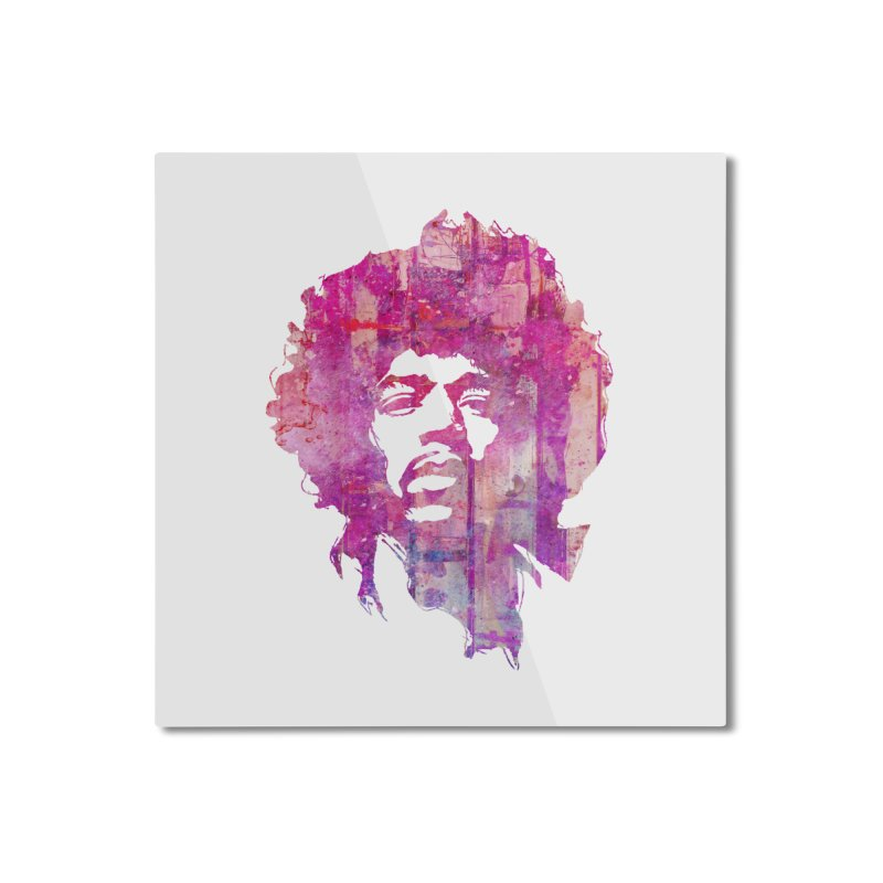 Grunge Hendrix Home Mounted Aluminum Print by Ale Borges
