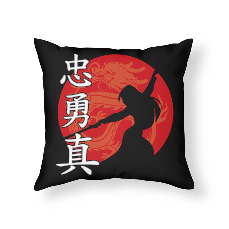 Chinese Warrior Home Throw Pillow by Ale Borges