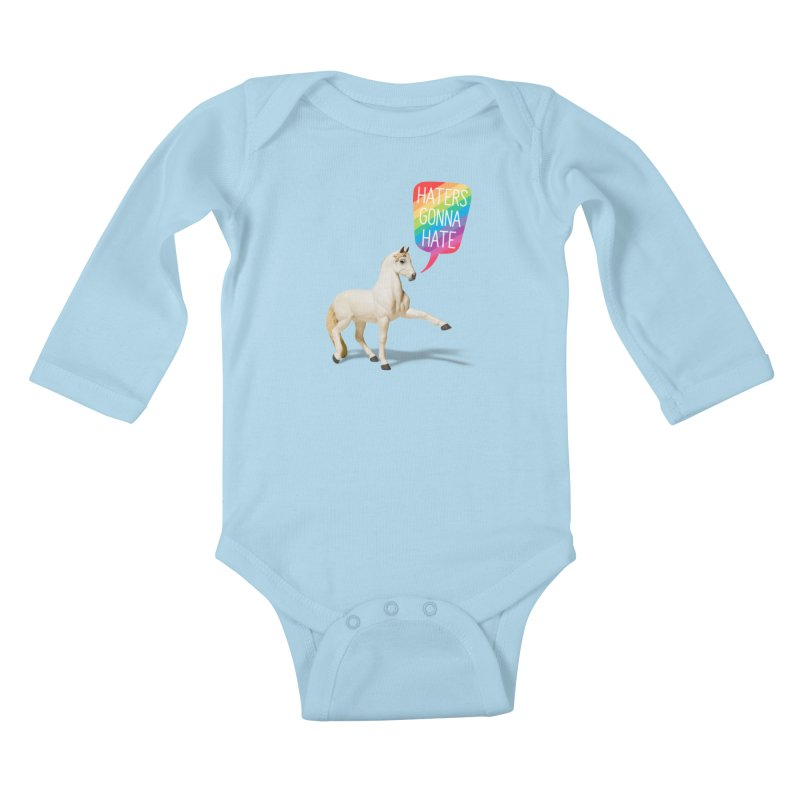 Horses Gonna Horse Kids Baby Longsleeve Bodysuit by Aled's Artist Shop