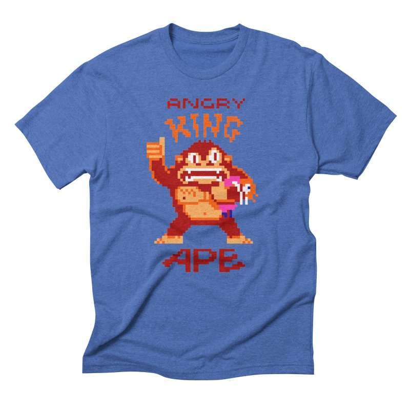 Angry King Ape in Men's Triblend T-Shirt Blue Triblend by Aled's Artist Shop