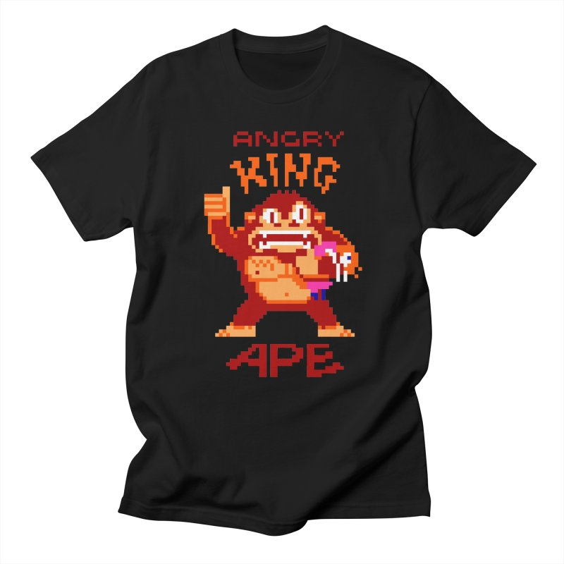 Angry King Ape in Men's Regular T-Shirt Black by Aled's Artist Shop