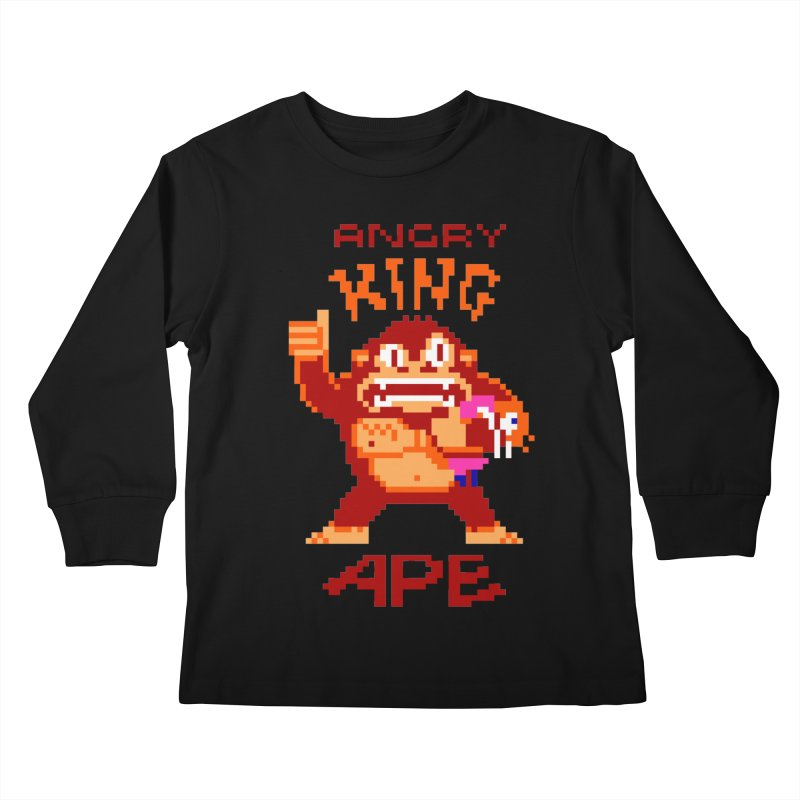 Angry King Ape Kids Longsleeve T-Shirt by Aled's Artist Shop