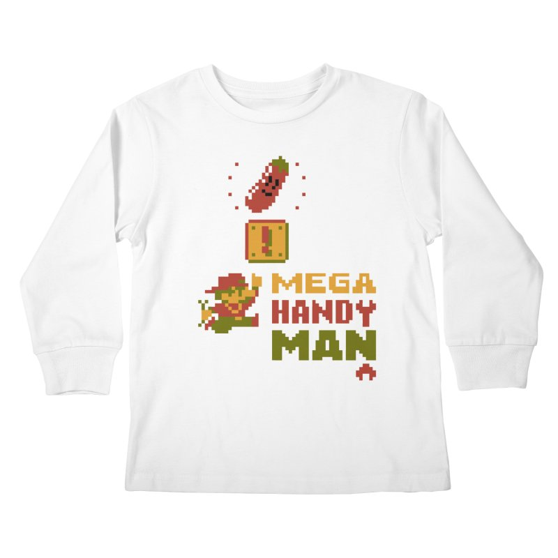 Mega Handy-Man Kids Longsleeve T-Shirt by Aled's Artist Shop