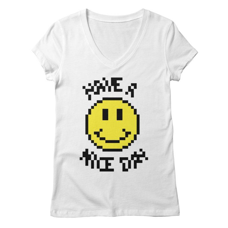Positive Emoji Women's V-Neck by Aled's Artist Shop