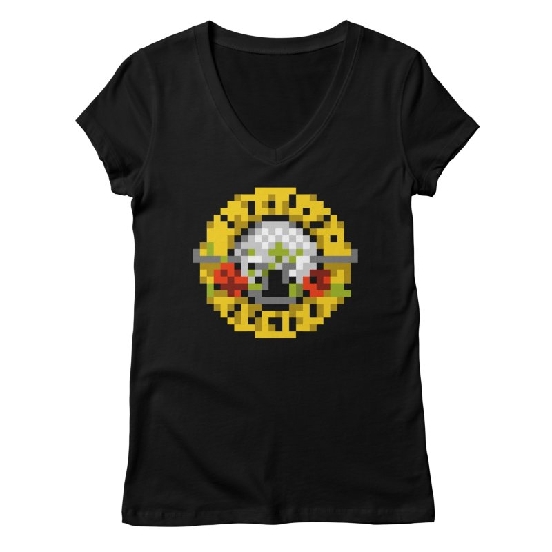 Hard Rock Band Women's V-Neck by Aled's Artist Shop