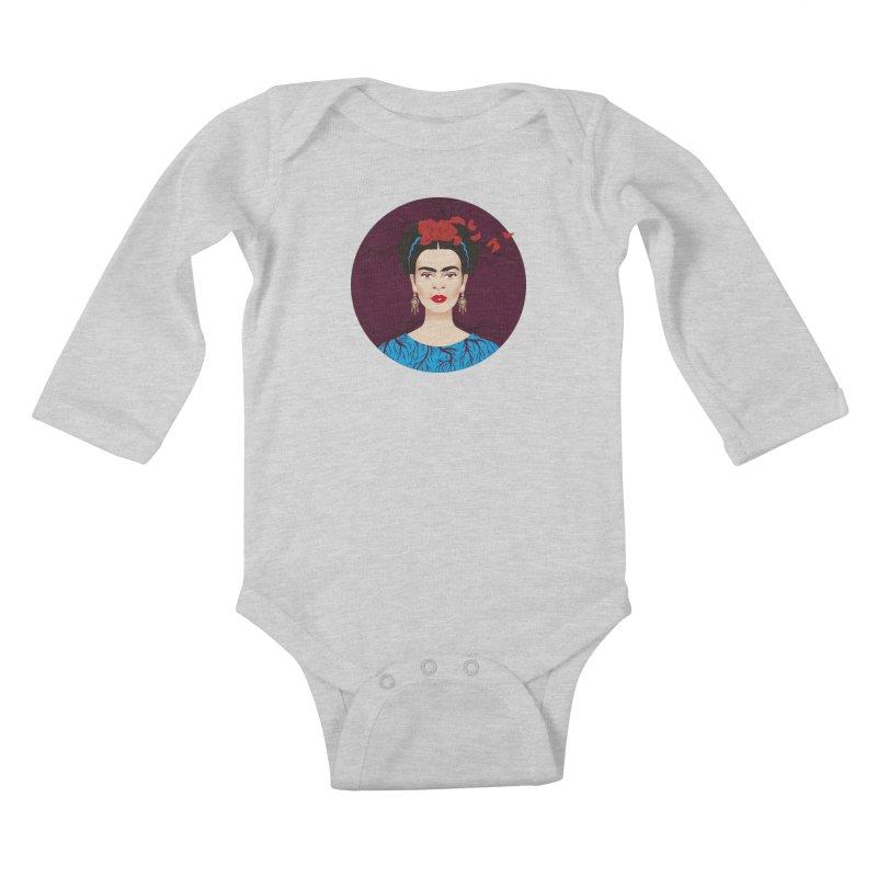 Frida Kids Baby Longsleeve Bodysuit by Ale Mogolloart's Artist Shop