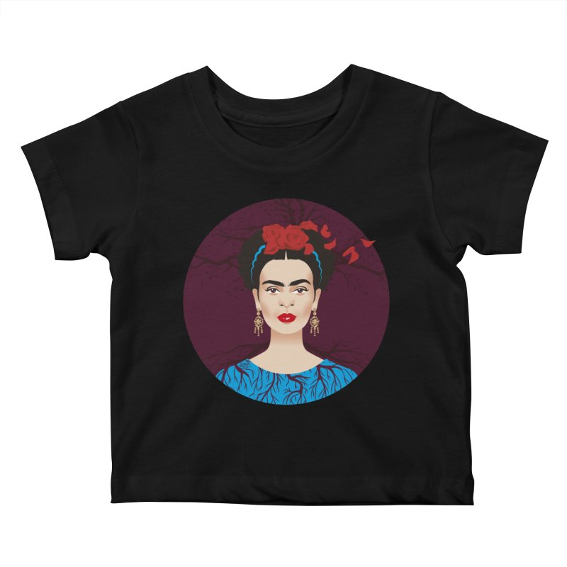 Frida Kids Baby T-Shirt by Ale Mogolloart's Artist Shop