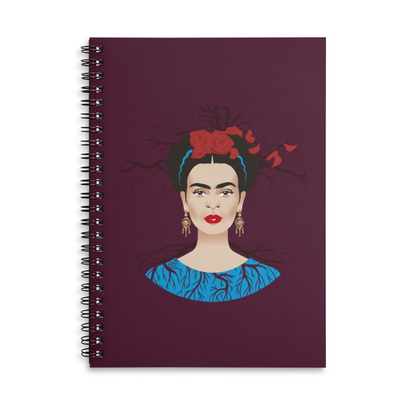 Frida Accessories Lined Spiral Notebook by Ale Mogolloart's Artist Shop