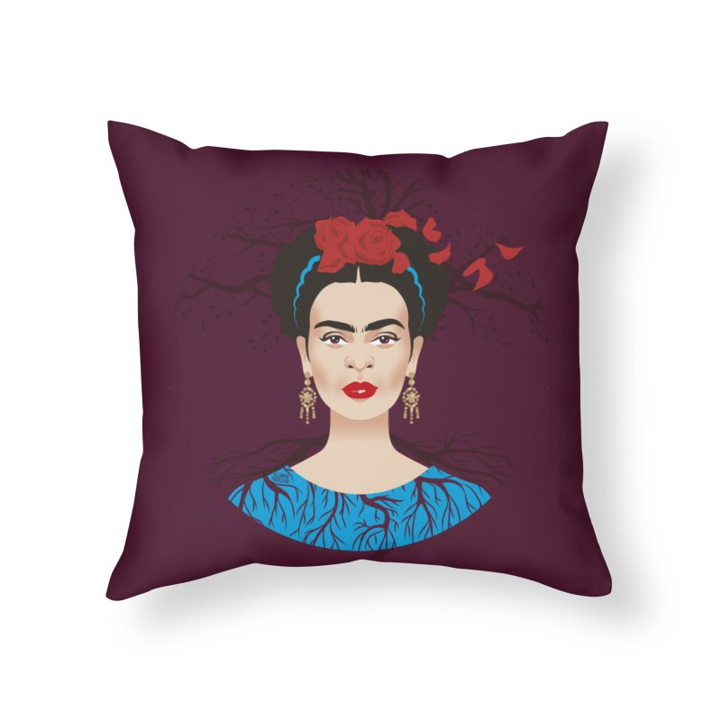 Frida Home Throw Pillow by Ale Mogolloart's Artist Shop