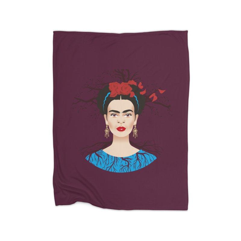 Frida Home Fleece Blanket Blanket by Ale Mogolloart's Artist Shop