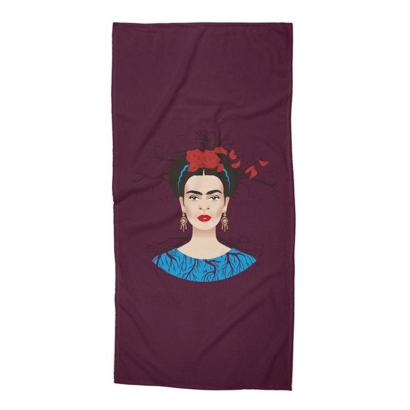 Frida Accessories Beach Towel by Ale Mogolloart's Artist Shop