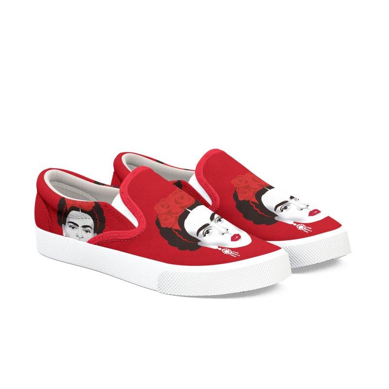 Red Frida Men's Slip-On Shoes by Ale Mogolloart's Artist Shop
