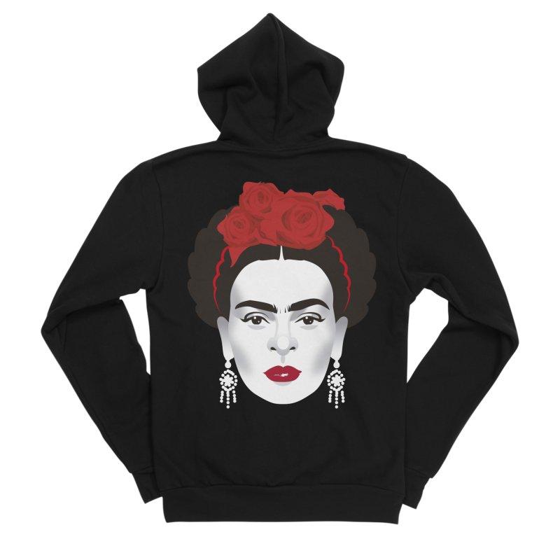 Red Frida Women's Sponge Fleece Zip-Up Hoody by Ale Mogolloart's Artist Shop