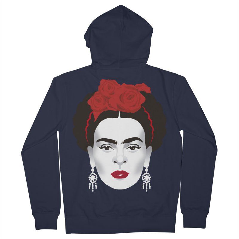 Red Frida Women's French Terry Zip-Up Hoody by Ale Mogolloart's Artist Shop