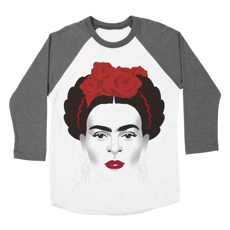Red Frida Women's Baseball Triblend Longsleeve T-Shirt by Ale Mogolloart's Artist Shop