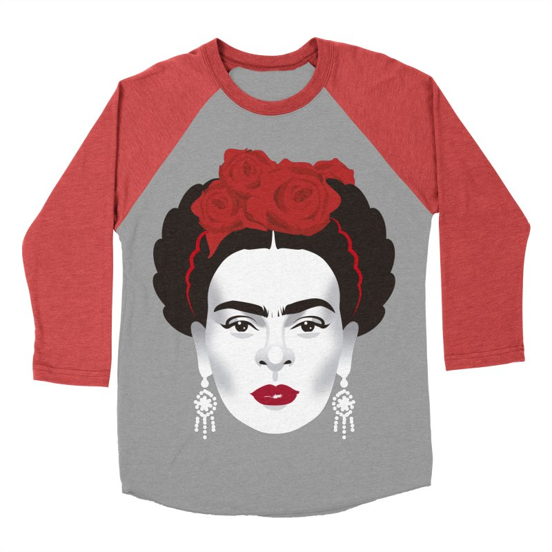 Red Frida Men's Baseball Triblend Longsleeve T-Shirt by Ale Mogolloart's Artist Shop