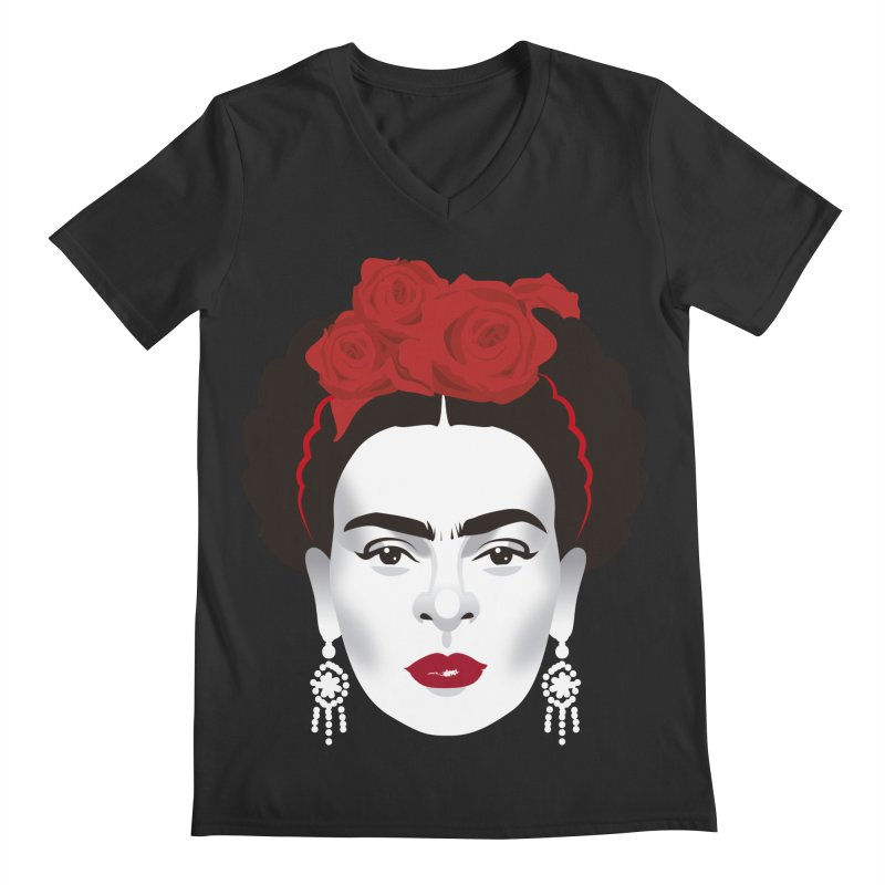 Red Frida Men's Regular V-Neck by Ale Mogolloart's Artist Shop
