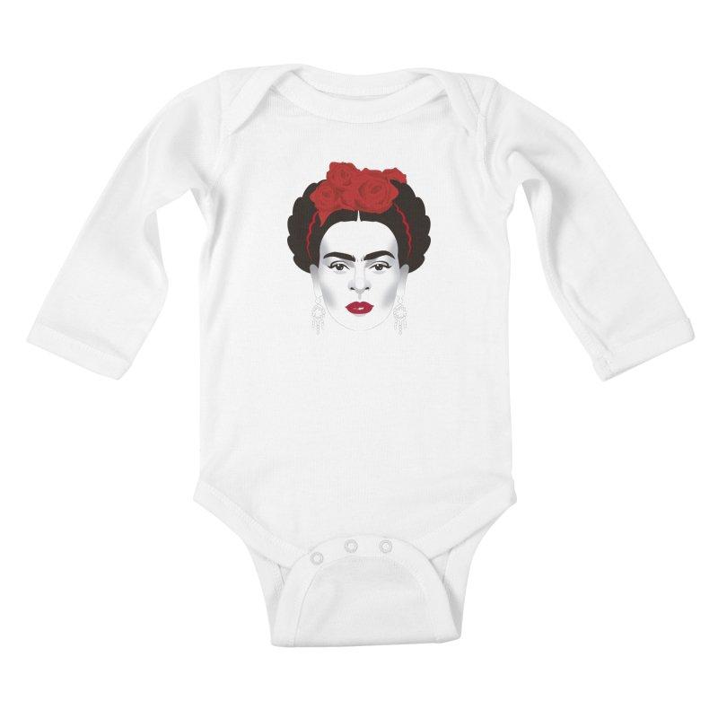 Red Frida Kids Baby Longsleeve Bodysuit by Ale Mogolloart's Artist Shop