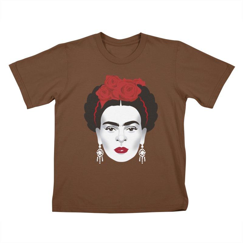 Red Frida Kids T-Shirt by Ale Mogolloart's Artist Shop