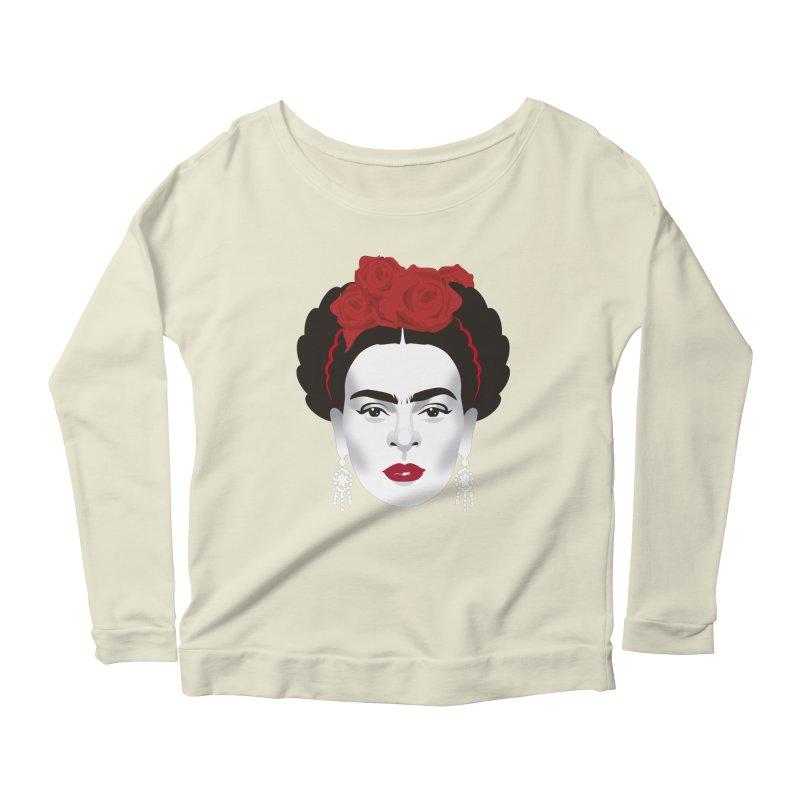 Red Frida Women's Scoop Neck Longsleeve T-Shirt by Ale Mogolloart's Artist Shop