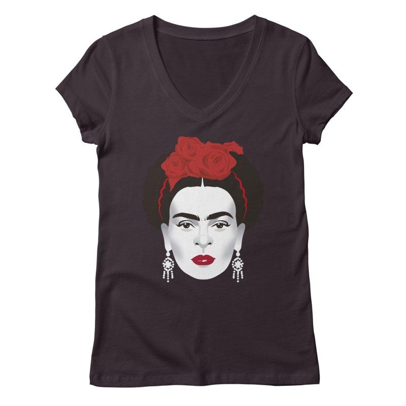 Red Frida Women's Regular V-Neck by Ale Mogolloart's Artist Shop