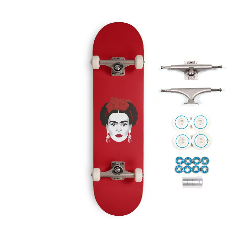 Red Frida Accessories Complete - Basic Skateboard by Ale Mogolloart's Artist Shop