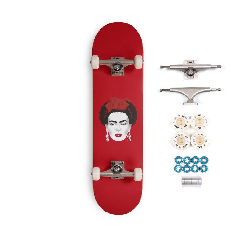 Red Frida Accessories Complete - Premium Skateboard by Ale Mogolloart's Artist Shop