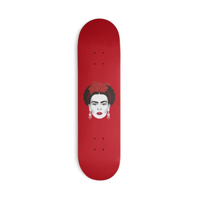 Red Frida Accessories Deck Only Skateboard by Ale Mogolloart's Artist Shop