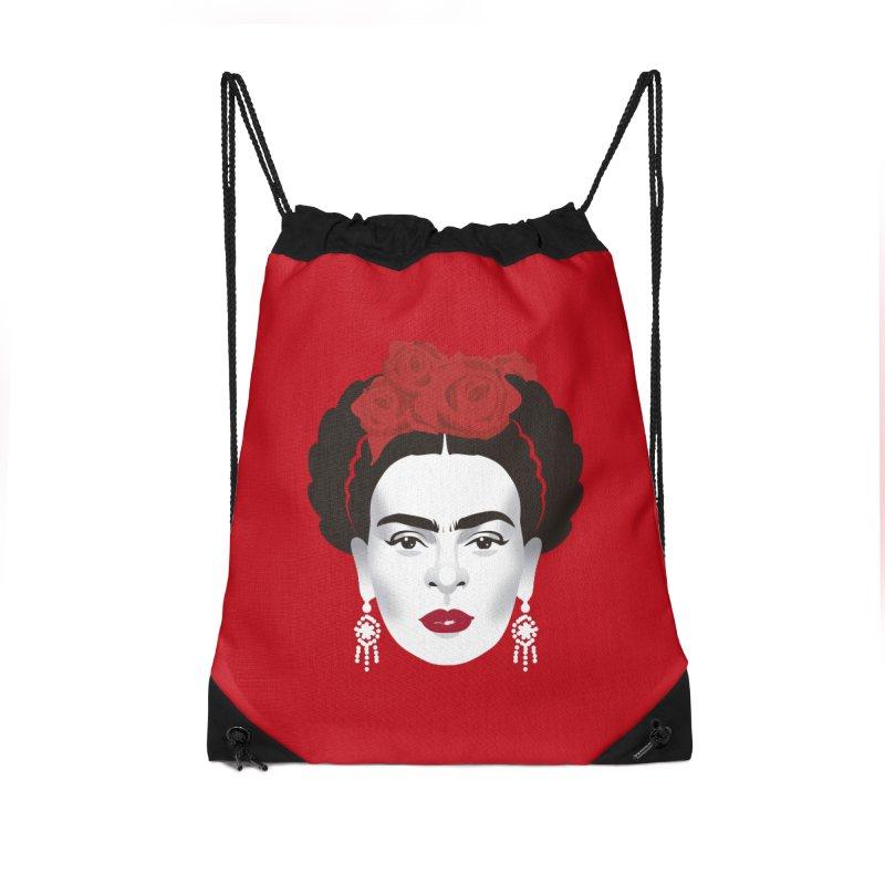 Red Frida Accessories Drawstring Bag Bag by Ale Mogolloart's Artist Shop