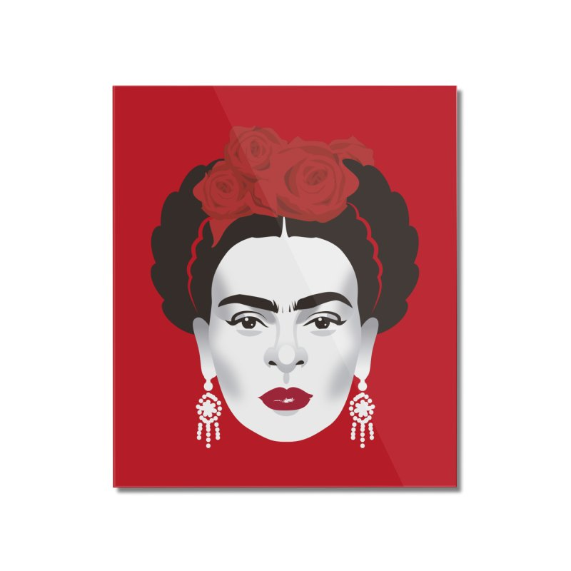 Red Frida Home Mounted Acrylic Print by Ale Mogolloart's Artist Shop