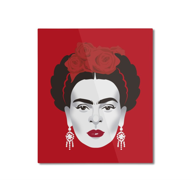 Red Frida Home Mounted Aluminum Print by Ale Mogolloart's Artist Shop