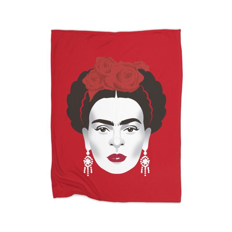 Red Frida Home Fleece Blanket Blanket by Ale Mogolloart's Artist Shop