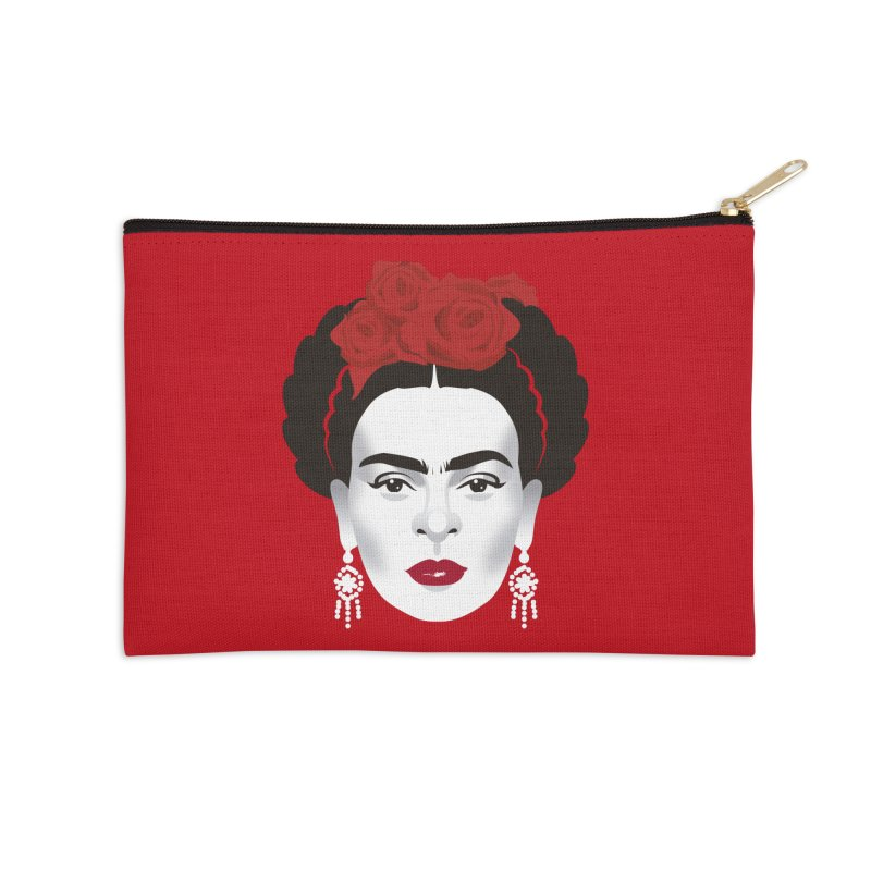 Red Frida Accessories Zip Pouch by Ale Mogolloart's Artist Shop