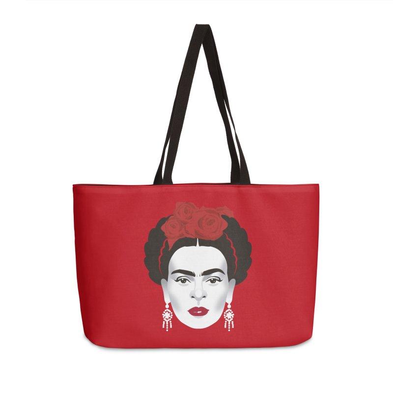 Red Frida Accessories Weekender Bag Bag by Ale Mogolloart's Artist Shop