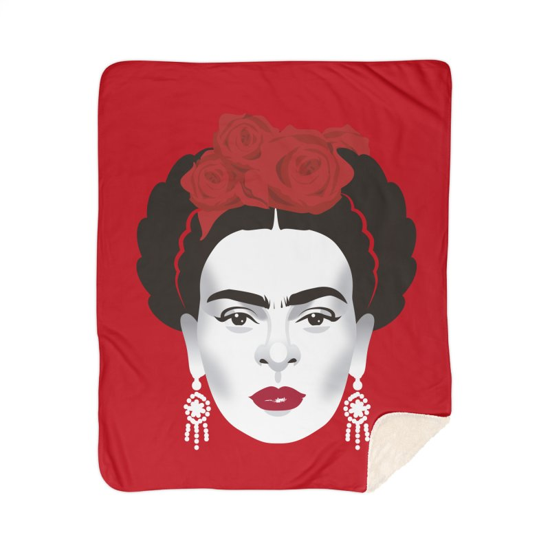 Red Frida Home Sherpa Blanket Blanket by Ale Mogolloart's Artist Shop