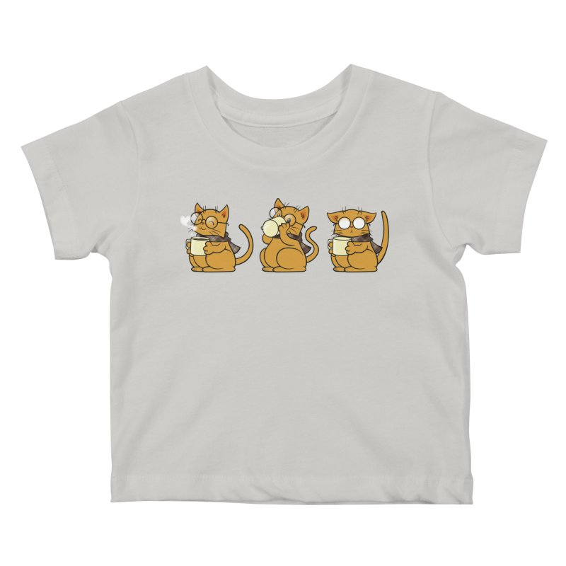 Cat, Coffee and Glasses Kids Baby T-Shirt by AlePresser's Artist Shop
