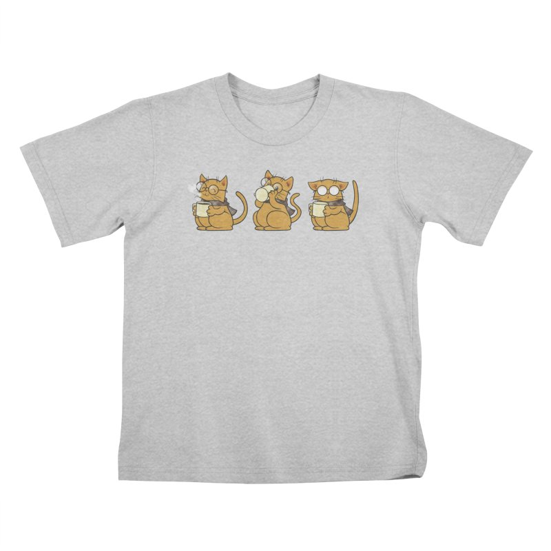 Cat, Coffee and Glasses Kids T-Shirt by AlePresser's Artist Shop